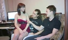 Group pron scene of two guys taking on brown-haired hottie