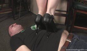 Beautiful in black heels does a great job when it comes to trampling