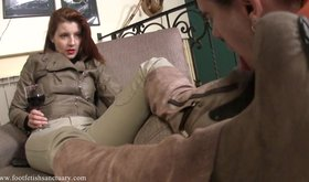 Redheaded chick in winter boots gets these shoes licked clean