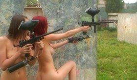 Crazy and horny teenaged girls are playing paintball naked