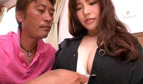 Horny and curious asian guy is tracing his hand under girl's blouse