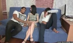Dark-skinned fella gets to bangs petite white bimbo
