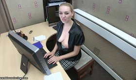 Pasty blonde secretary shows her beautiful breasts