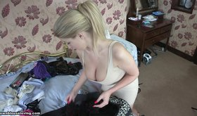 Ponytailed blonde in tight dress showing her tits