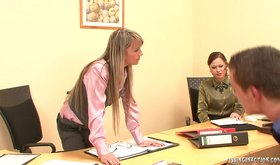 Two sex-crazed girlfriends want to have an FFM in the office