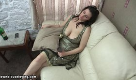 Busty dress-wearing amateur drinking and seducing