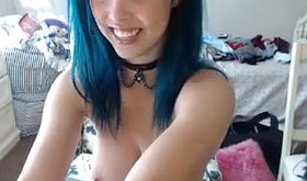 Blue-haired teen rides a hot dildo on camera